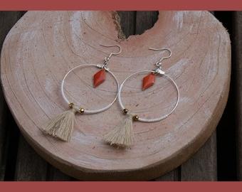 """""""beautiful coral"""" hoop earrings"""