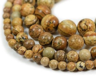 "Picture Jasper Beads, Full 15.5"" Strand Natural Round Wholesale 4mm 6mm 8mm 10mm 12mm"