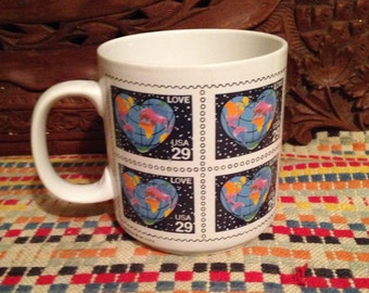 Vintage Mug LOVE Stamp Heart Earth World PAPEL Postal Service Coffee Cup