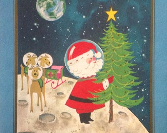 First Christmas on the Moon - Christmas Card - The Drawing Board- Art by Bill McLauchlan - Holidays - Seasons Greetings - Vintage 1970s Card
