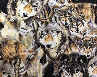 wolf Fabric / Brown and Cream / Shamash and sons / 100% cotton / Sold by the 1/2 yard