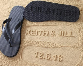 Anniversary Flip Flops Custom Date *check size chart, see 3rd product photo*