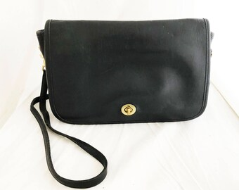 COACH Purse- Black leather classic over the shoulder rectangular bag #9635 convertible clutch