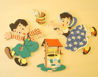 Jack & Jill wall decor, Dolly Toy Co. Pin-Ups, 4-piece set, mid-century children's nursery art, heavy board, colorful new baby gift