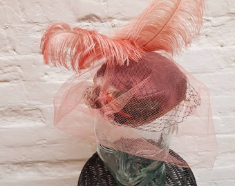 1950s hat with veil and feathers