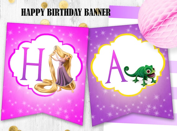 Rapunzel birthday banner tangled happy birthday banner digital bookmarktalkfo Image collections