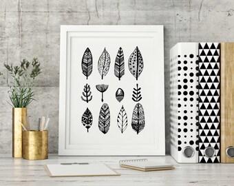 Feathers & Acorns, Autumn Illustration, Nature art print, wall art, modern vintage art print