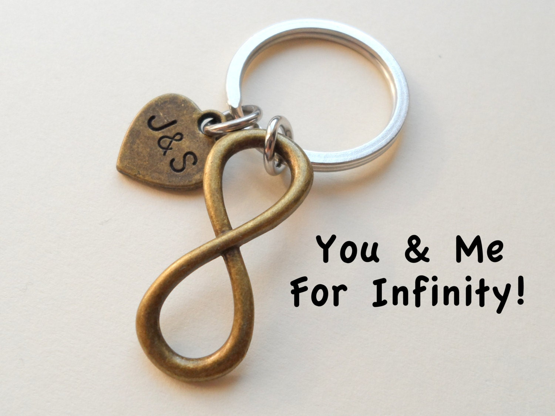 Bronze Infinity Symbol Keychain Gift Couples Anniversary