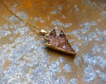 Druzy Necklace,Arrowhead Necklace,Druzy Arrowhead Necklace,Raw Stone Necklace,Raw Stone Jewelry,Crystal Necklace,Arrow Druzy Pendant,Boho