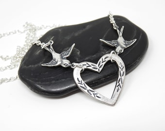 Love Bird Necklace - Mother's Day Gift For Mom, Silver Bird Necklace, Silver Heart Necklace, Silver Necklace, Bird Jewelry, Heart Jewelry