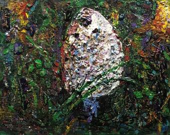 "Original Acrylic Abstract Expressionist Mushroom Painting 11x14 ""Shaggy Mane"""