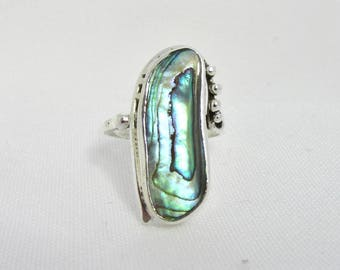 Ring handmade in 800 silver and abalone T 56-57