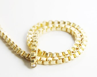 One Foot Matte 16K Gold Plated Brass Base Chains-Box 4mm (419C06)