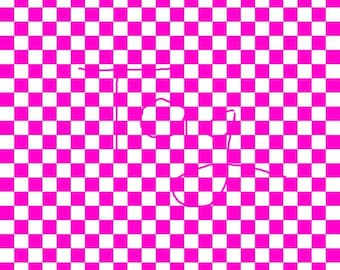 Hot Pink Checkered Cardstock Paper