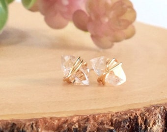 Chic Earrings, Herkimer Diamond Studs, Everyday Jewelry, Rose Gold Earrings, Sterling Silver Studs, Mother's Day Gift, Gold Studs, Delicate