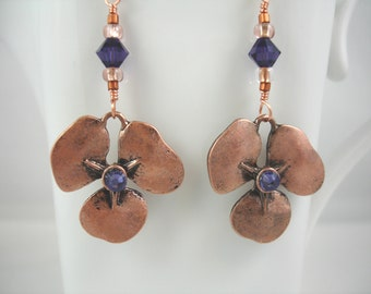 Earrings with copper flower and purple crystals, copper pansy earrings, copper and purple, spring jewelry