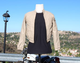 Cream Vegan Motorcycle Jacket with Elastic Cuffs and Waist (Vintage / 90s)