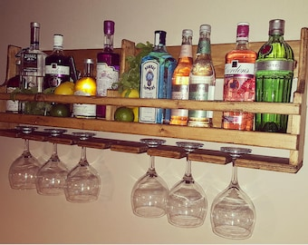 Bespoke reclaimed wooden gin and tonic rack
