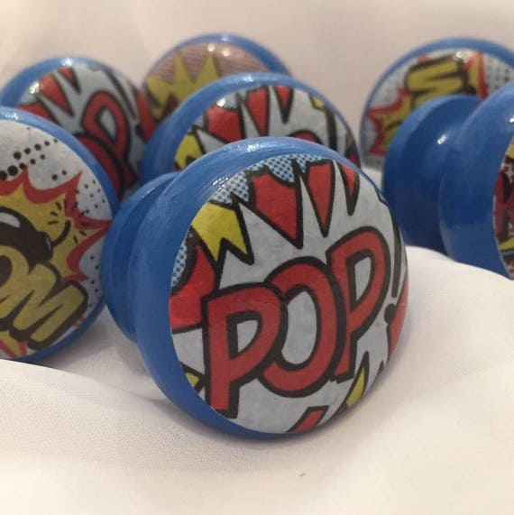Pop Art Knobs, Kids Door Knobs, Comic Dresser Knobs, Comic Dresser Pulls,  Kids Bedroom Knobs, Kids Decor, Kids Rooms, Pop Art From SurfaceCandy On  Etsy ...