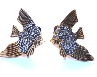 Clip Earrings Fish Rhinestone Marcasite desgn Vintage Art Deco Goldtone and Silver