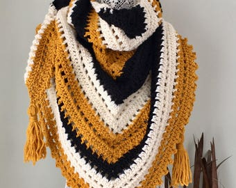 READY TO SHIP The Weekend Wrap - black, mustard, cream