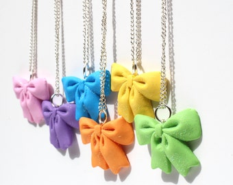 Cheer bow necklaces best friend charms bff friendship necklace 6 way friendship necklace cheer bow charms friendship cheer bows