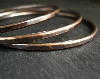 Hammered pure bronze bangle set for women, bronze wedding anniversary gift for wife, ladies bracelets, 8th and 19th anniversary presents