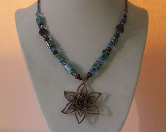 Copper Beaded Necklace With Copper Flower Pendant/Blue And Brown Necklace/Handmade Necklace Women/Metallic Blue Necklace/ Holiday Necklace