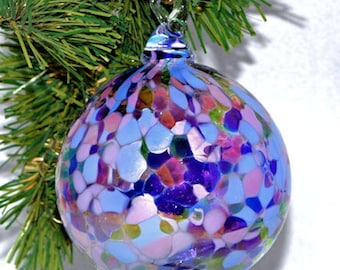 Hand blown Glass End of Day Christmas Ornament