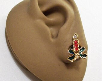 Avon Christmas Candle Holly Pierced Post Stud Earrings Gold Tone Vintage 1991 Red Clear Crystals Green Leaves Nail Head Accent Stone Flame