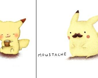 Pikachu Drinking Tea (Teakachu) or Moustache Pikachu Coffee Traveler's Mug