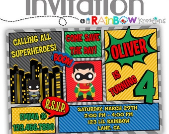 695: DIY - Super Hero 17 Party Invitation Or Thank You Card