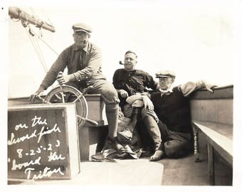 """Vintage Snapshot """"On The Swordfish"""" Man At The Helm Of A Sailboat Fishing Trip 1923 Found Vernacular Photo"""