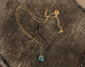 Raw apatite gold filled necklace minimalist jewelry gift for her under 40