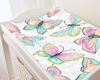 Carousel Designs Bright Damask Butterflies Changing Pad Cover