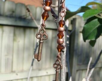 Copper Key and Crystal Earrings OOAK