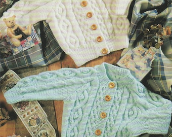 Childrens Cardigan PDF Knitting Pattern : Baby Toddlers 18, 20, 22, 24 and 26 inch chest . Boys or Girls . Round and V Neck . PDF Download