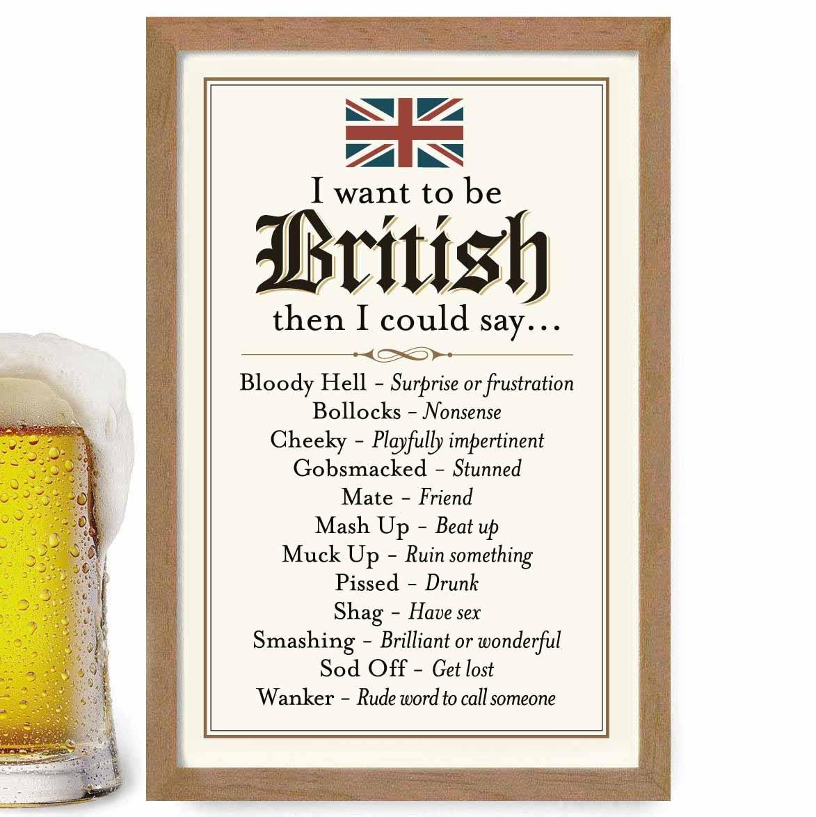 British Slang English Art Gift Idea London England Bar Sign