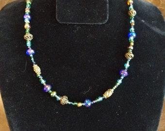 Beaded purple & blue necklace