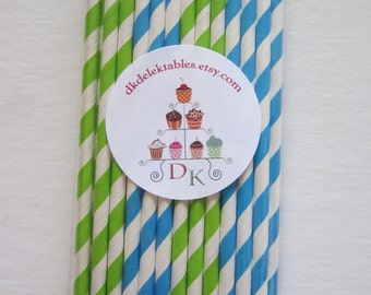 Blue & Lime Green Striped Paper Straws ~ Drinking Straws ~ Party Straws