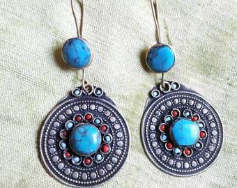 TURKMEN 9210 round turquoise earrings