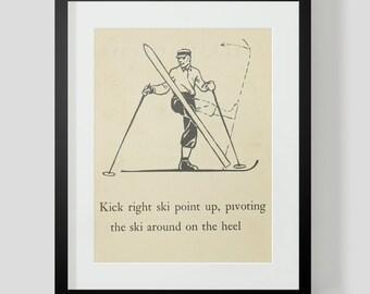 Skiing Skier Print Ski Up