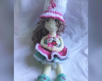 Amigurumi Doll, Crochet Girl Doll, Handmade Doll , Flower Doll