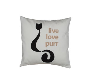 "18""x18""  'Live Love Purr'  Pillow COVER"