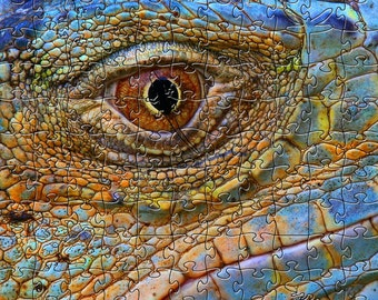 Blue Iguana Zen Puzzle - Hand crafted, eco-friendly, American made artisanal wooden jigsaw puzzle