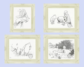 Winnie the Pooh Prints Classic Illustration Set 2 E H Shepard Illustrations