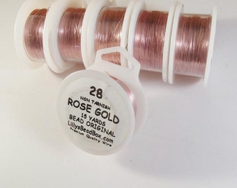 Rose Gold Wire, 28 Gauge Plated Wire, Round, Thin Wire for Wrapping Gemstones & Jewelry Making, Soft Wire, Non Tarnish Thin Wire