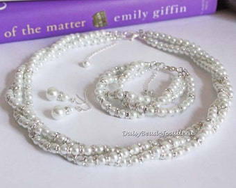 Statement Bridal Jewelry Set White Pearl Necklace Multi Strand Necklace Twisted Necklace Statement Necklace Gift for Bride Jewelry