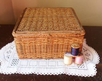 Antique Sewing Basket with Handmade Needle Holders, Wood and Sweet Grass Sewing Box with Assorted Notions