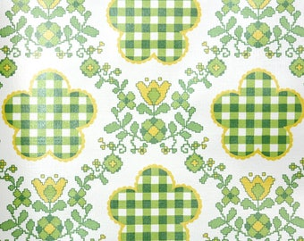 Retro Wallpaper by the Yard 70s Vintage Wallpaper - 1970s Yellow Green Floral and Check